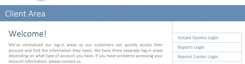 A new log-in area for customers